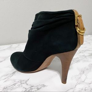 Tory Burch Black Suede Stiletto Ankle Bootie Leather Buckle Decor Heel Size 10